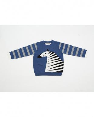 ブルー しまうまセーターを見る