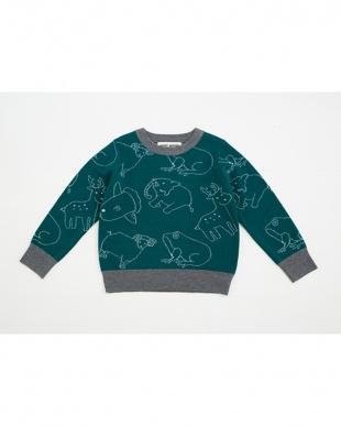 グリーン アニマル柄セーターを見る