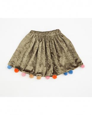 グリーン ポンポン付きベロアスカートを見る