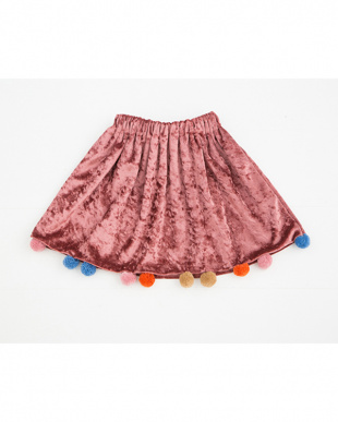 ピンク ポンポン付きベロアスカートを見る