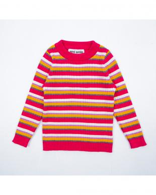 ピンク ボーダーセーターを見る
