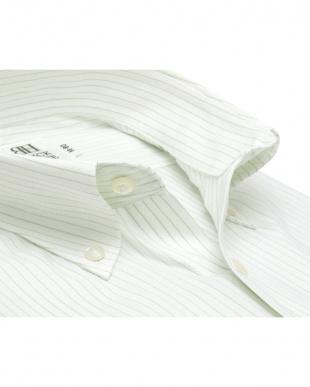 グリーン系 形態安定 ノーアイロン 長袖ワイシャツ ボタンダウン 白×グリーンストライプを見る