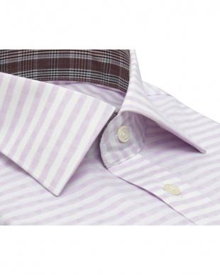 パープル系 形態安定 ノーアイロン 長袖ワイシャツ ワイド 白×パープルボーダーストライプ、ストライプ織柄を見る