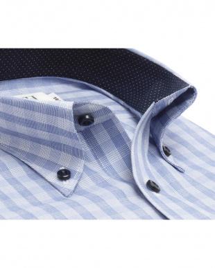 ブルー系 形態安定 ノーアイロン 長袖ワイシャツ ボタンダウン 白×ブルーチェックを見る