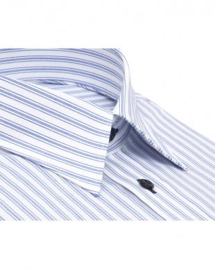 ブルー系 形態安定 ノーアイロン 長袖ワイシャツ レギュラー 白×ブルーストライプを見る