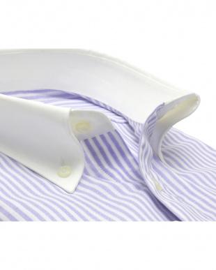 パープル系 形態安定 ノーアイロン 長袖Wガーゼワイシャツ クレリック ボタンダウン パープル×白ストライプを見る