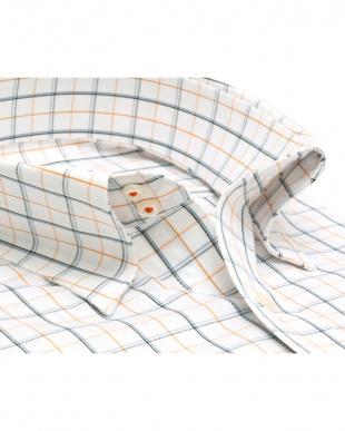 イエロー系 形態安定 ノーアイロン 長袖ワイシャツ ドゥエボットーニ スナップダウン 白×ブルー、オレンジチェックを見る