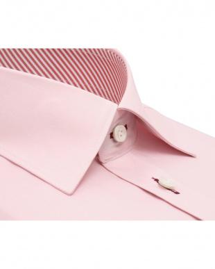 ピンク系 形態安定 ノーアイロン 長袖ワイシャツ ワイド ピンク×無地調を見る