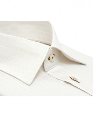 イエロー系 形態安定 ノーアイロン 長袖ワイシャツ ワイド 白×イエローストライプを見る