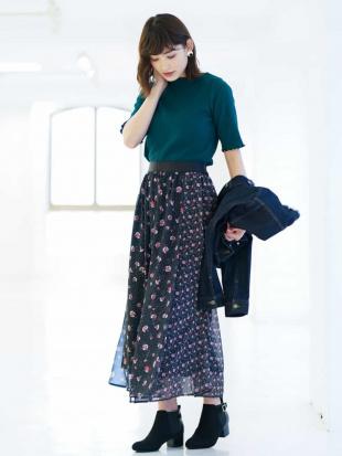ブラック パターンミックスギャザースカート[WEB限定サイズ] a.v.vを見る