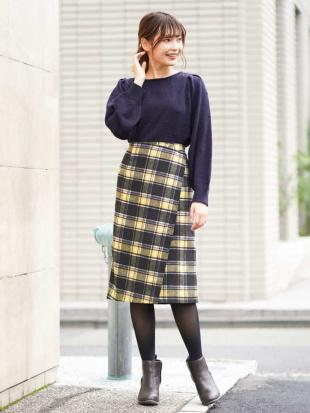 イエロー シャギーチェックナロースカート[WEB限定サイズ] a.v.vを見る