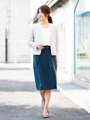 グリーン 【セットアップアイテム】Wクロス ベルト付きタックタイトスカート[WEB限定サイズ] a.v.vを見る