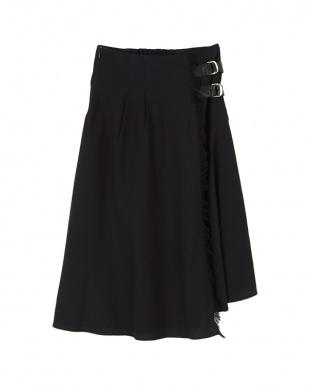 ブラック フリンジフェイクラップスカートを見る