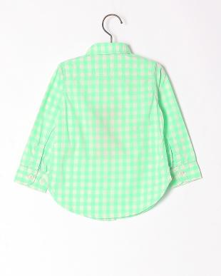 ライトグリーン  ギンガムチェックシャツを見る