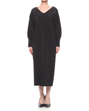 ブラック PEARL BUTTON VOLUME SLEEVE DRESSを見る