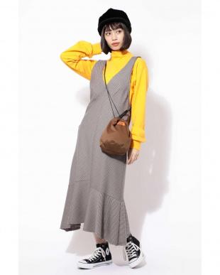 ブラウン1 裾フレアジャンパースカート R/B(オリジナル)を見る