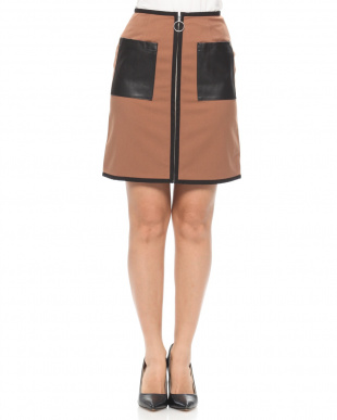 BROWN FAUX LEATHER POCKET MINI SKIRTを見る