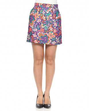 BROWN PSYCHEDELIC PRINTED CADY MINI SKIRTを見る