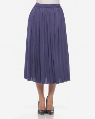 ネイビー falsetto ヴィンテージサテンギャザースカートを見る