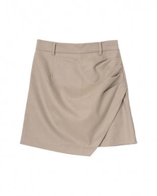 ベージュ ラップミニデザインスカートを見る