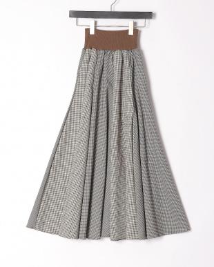 ネイビー ピンチェック組み合わせロングスカートを見る