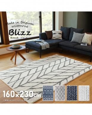 アイボリー ベルギー製ウィルトンラグ BLIZZ ブランチ 160×230を見る