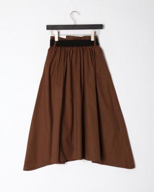 ブラウン ストライプ切替スカートを見る