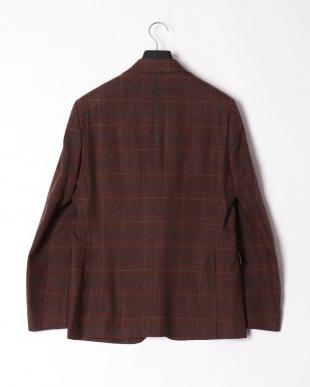 レッドブラウングレンチェック  シルク 麻混 チェック ノッチドラペルテーラードジャケットを見る
