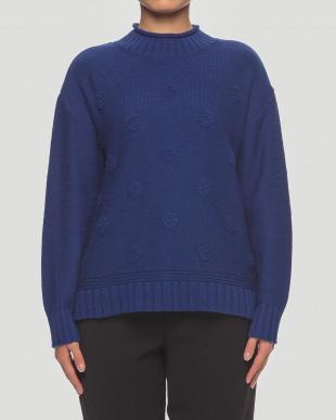 ブルー 日本製ふくれドットハイネックセーターを見る