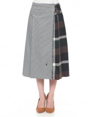ネイビーA クラシックガンクラブチェックラッププリーツスカートを見る