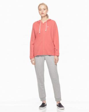 ピンク Championルームウェア裏毛フード付ジップアップ長袖長パンツを見る