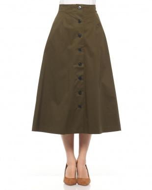KHAKI コットンストレッチ前ボタンスカートを見る