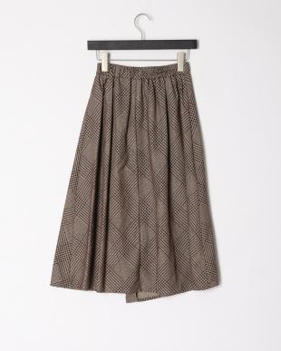 ベージュ グレンチェックフロッキーptスカートを見る