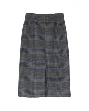 チェック/チャコール フロントスリットタイトスカートを見る