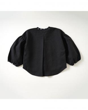 ブラック 綿麻へリンボン長袖ボックスシャツを見る