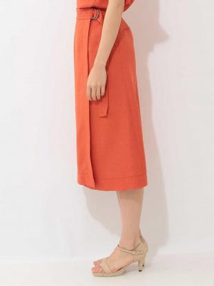オレンジ 【セットアップ対応】【洗える】リネンクロスラップ風スカート MICHEL KLEINを見る