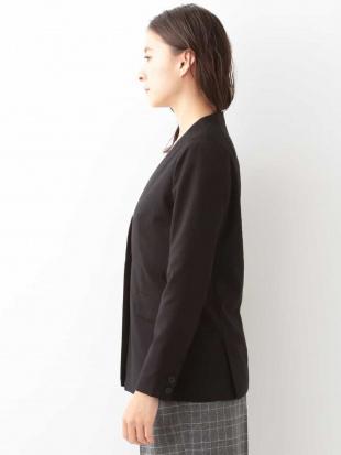 ブラック 【洗える】V衿ノーカラーロングジャケット MK MICHEL KLEINを見る