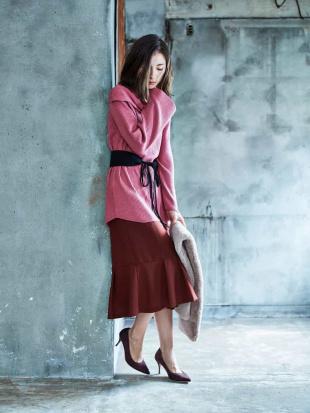 ブラック 【洗濯機で洗える】ペプラム切替えスカート MK MICHEL KLEINを見る
