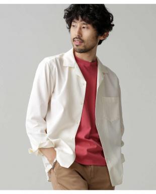 ホワイト 微起毛オープンカラーシャツ ナノ・ユニバースメンズ(オリジナル)を見る