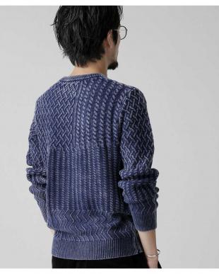 ブルー 加工クレイジー切替クルーネックニット ナノ・ユニバースメンズ(オリジナル)を見る