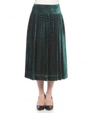 グリーン系 ベロアプリントドットスカートを見る