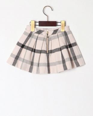 L・ピンク wool like check skirtを見る