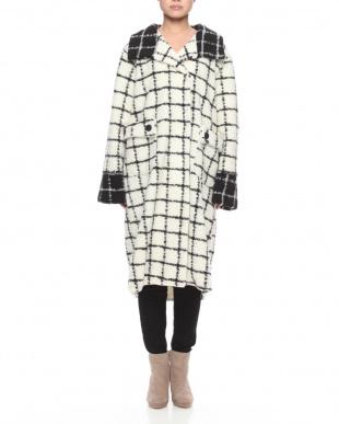 ホワイトブラック イタリア製ウール混コートを見る