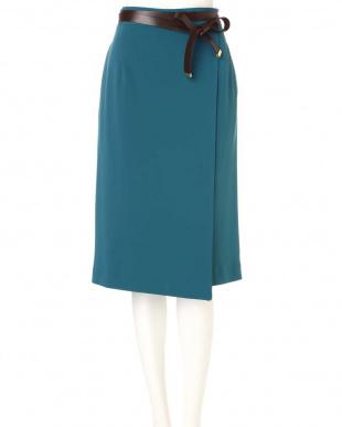 グリーン [ウォッシャブル]ベルト付きセットアップスカート PINKY & DIANNEを見る