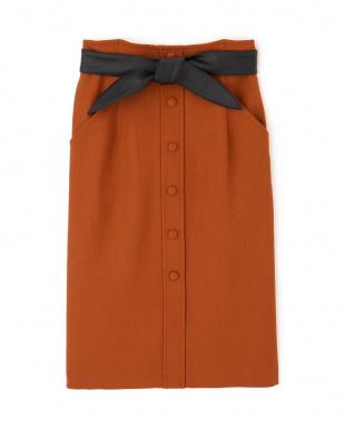 ブラウン ◆レザーリボン付きフロント釦スカート PINKY & DIANNEを見る