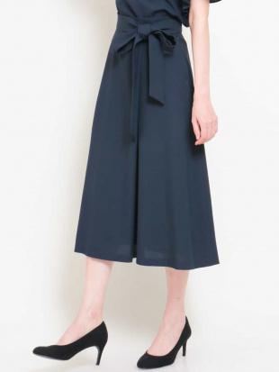 ネイビー 【セットアップ対応/洗える】リネンライクラップデザインスカート MICHEL KLEINを見る