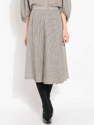 ブルー 【セットアップ対応】チェックプリーツデザインスカート MICHEL KLEINを見る