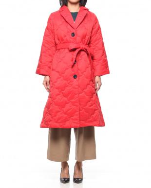 68/青系I(ネイビー) ロンドン 共布ベルト付 中綿キルティングコートを見る