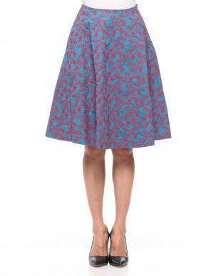 65/青系F(ブルー) ロンドン 刺繍デザイン フレアースカートを見る