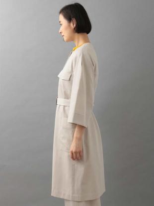 カーキ 【日本製】ノーカラー七分袖コート GEORGES RECHを見る